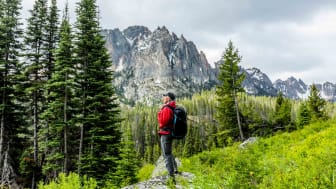 A lone senior hiker is seen in the mountains of Idaho