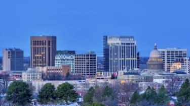 Boise Skyline at night before sunrise
