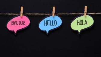 Speech bubbles reading Hello, Bonjour and Hola