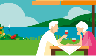 illustration of couple enjoying wine in retirement