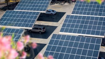 Elevated view of solar panels placed on a city parking lot in Atlanta, Georgia