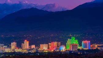 High angle view on the skyline of Reno, Nevada, at dusk