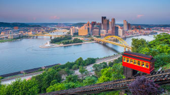 picture of Pittsburgh, Pennsylvania from hill on other side of river