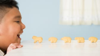 Animal crackers lined up on a table in front of a young boy's mouth