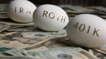 Eggs representing IRA, Roth, and 401(k) accounts