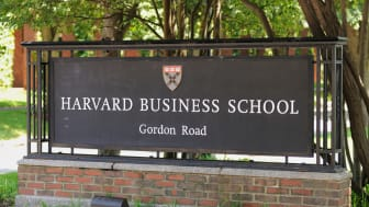Cambridge, Massachusetts, USA - July 21, 2016: Sign located at the entrance to the Harvard Business School at the Gordon Road entrance in Cambridge, Massachusetts.