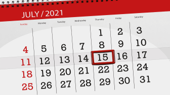 picture of July 2021 calendar with July 15 circled