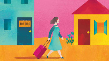 illustration of woman walking away with luggage