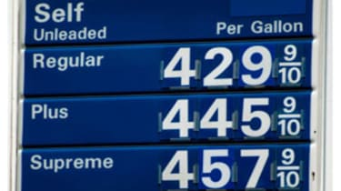 High Gas prices above four dollars per gallon in the United States.