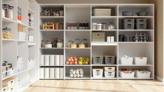 Organised Pantry Items In Storage Room With Nonperishable Food Staples, Preserved Foods, Healthy Eatings, Fruits And Vegetables.