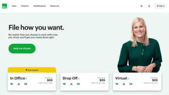 Screenshot of H&R Block home page featuring smiling young woman