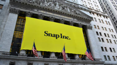 Banner on the New York Stock Exchange marking the Initial Public Offering of Snap Inc., the parent company of the popular social media site Snapchat.
