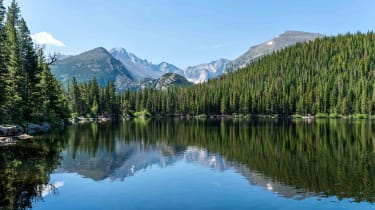 A lush forest surrounding a lake with snow-capped mountains in the background