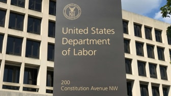 A view of the sign in front of the U.S. Department of Labor