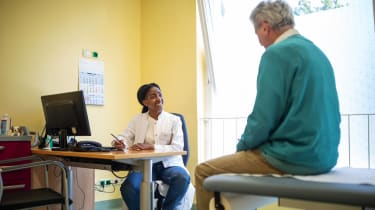 A patient speaking with a doctor