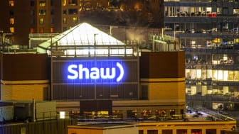 A glowing Shaw Communications sign