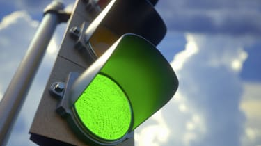 Green traffic light, illustration.