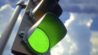 Green traffic light, illustration.
