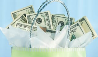 Gift bag filled with money