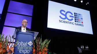 LAS VEGAS, NV - OCTOBER 04:Scientific Games CEO Kevin Sheehan speaks during Global Gaming Expo on October 4, 2017 in Las Vegas, Nevada.(Photo by Isaac Brekken/Getty Images for Global Gaming E