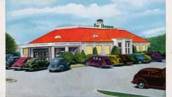 A rendering of a The Hot Shoppes restaurant, 1930s or '40s