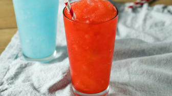 Frozen Red and Blue Slushies with Straws