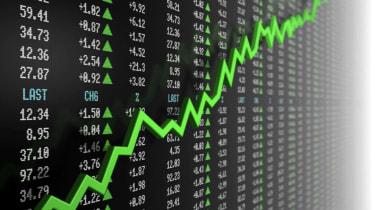 Concept art of a rising stock market