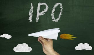 "Concept art with ""IPO"" written above a paper airplane with a jet flare behind it"