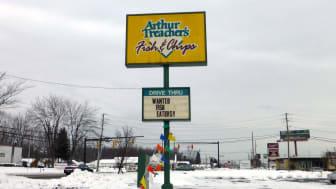 Street sign of an old Arthur Treacher's Fish & Chips restaurant