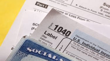 picture of Social Security card and tax forms