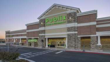 Dawsonville, Georgia USA - October 13, 2016: Main entrance to the Publix grocery and pharmacy.