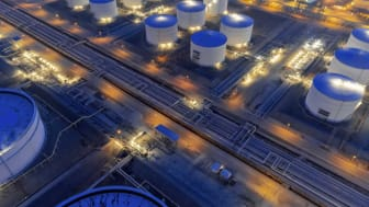 Tank oil in the refinery at night, thailand.