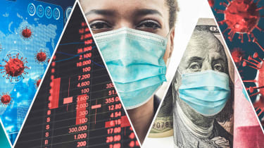 A collage of four images of the COVID virus, a stock chart, and people wearing masks.