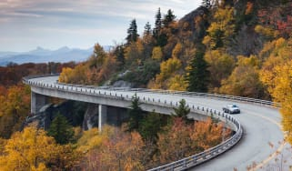 North Carolina, Linville, Linn Cove Viaduct that goes around Grandfather Mountain on the Blue Ridge Parkway, autumn.