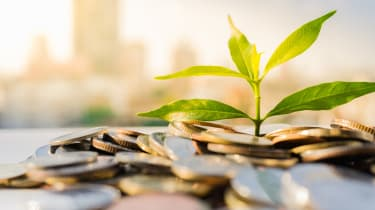 Financial Growth, Plant on pile coins with cityscape background