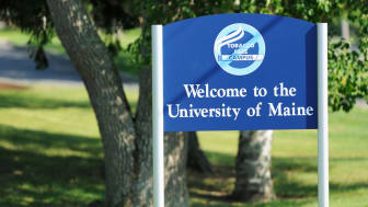 Close up of Welcome to the University of Maine Tobacco Free Campus sign located on the University of Maine campus in Orono, Maine.