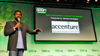 SAN FRANCISCO, CA - SEPTEMBER 10:Accenture Managing Director of Open Innovation Jitendra Kavatakar award Partpic the onstage Best Enterprise Disruptor Award at TechCrunch Disrupt at Pier 48 o