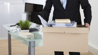 Businessman moving offices