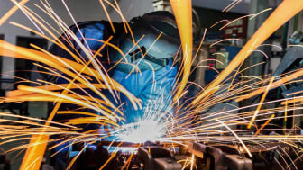 Sparks fly as a welder works