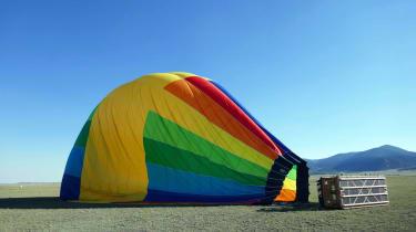 Deflating hot-air balloon