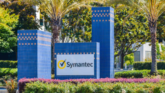 Mountain View, CA, USA - Jul. 24, 2016: Entrance to Symantec Corp. campus, with display of company logo. Headquartered in Mountain View, CA, Symantec Corp. produces software for security, sto