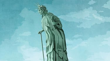 photo illustration of an old lady liberty