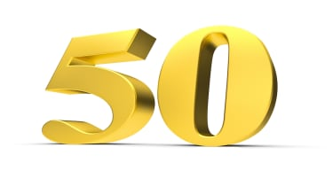 Rendering of a golden fifty number
