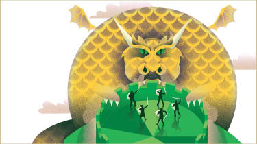 illustration of an inflation dragon rearing its head, people fighting it off