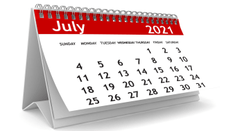 picture of calendar showing July 2021