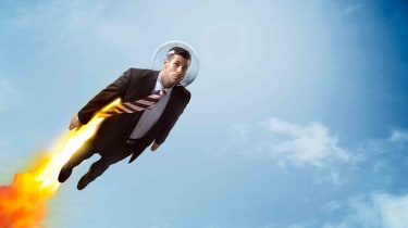 Concept art of a businessman with a jetpack soaring through the sky.