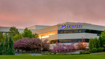 Boise, ID, USA - April 22, 2016: Micron Technology Boise . Micron is a leading company in semiconductor manufacturing. Flowering spring trees on the campus.