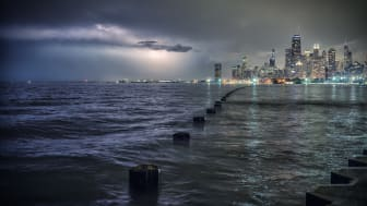 Chicago skyline with Lake Michigan in a thunderstorm