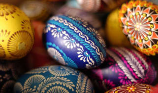 Carefully and ornately decorated Easter eggs