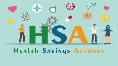 """drawing of doctors, patients and other medical images around the words """"HSA"""" and """"Health Savings Account"""""""